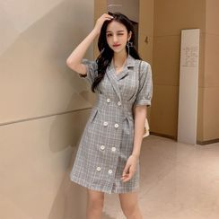 Petit Lace - Short-Sleeve Double-Breasted Check Dress