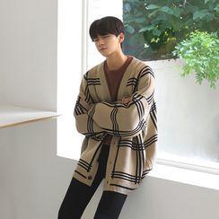 匡億 - 格子V領針織開衫