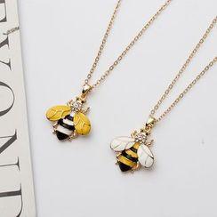 Bling Thing - Rhinestone Bee Pendant Necklace