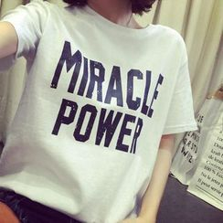 Carmenta - Short-Sleeve Letter Printed T-Shirt