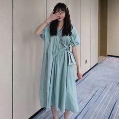 Hiccup - Maternity Short-Sleeve Asymmetric Shirred Midi A-Line Dress