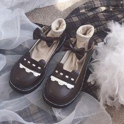 Futari - 日系軟妹風搭扣jk可愛小皮鞋圓頭耳朵蝴蝶結蕾絲女單鞋春季單鞋潮