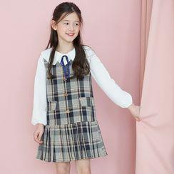Hobab - Set: Kids Balloon-Sleeve Blouse + Plaid Pleated A-Line Midi Pinafore Dress