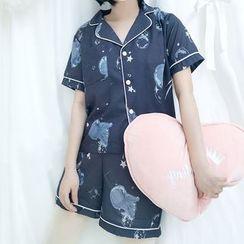 Tomoyo - Pajama Set: Short-Sleeve Printed Top + Shorts