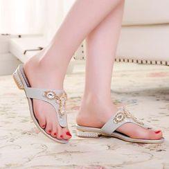 Shoes Galore - Embellished Slide Sandals