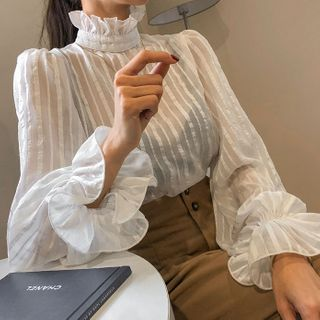 DABAGIRL - Ruffled Striped Sheer Blouse