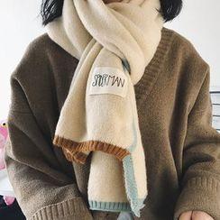 TAAK - 配色边贴布绣围巾