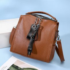 Szeta - Faux Leather Zipper Tag Accent Crossbody Bag