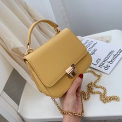 Szeta - Faux Leather Mini Handbag with Chain Strap