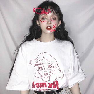Chogen - Elbow-Sleeve Printed T-Shirt