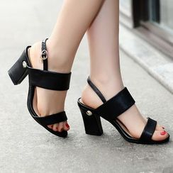 Shoes Galore - Genuine Leather Block Heel Sandals