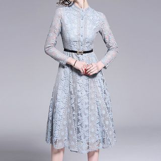 Seire - Long-Sleeve Midi A-Line Lace Dress