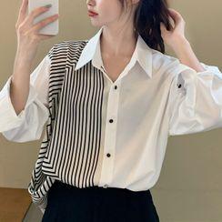 Fabricino(ファブリチーノ) - Striped Panel Shirt