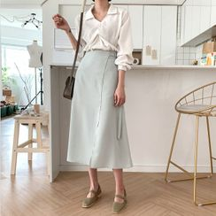 MERONGSHOP - Belted Flared Long Wrap Skirt