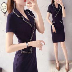 MARGOT - Short-Sleeve Tweed Trim Mini Shift Dress