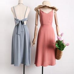 Lemongrass - 後背鏤空蝴蝶結系帶吊帶連衣裙