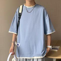 PILLARS(ピラース) - Short-Sleeve Mock Two-Piece T-Shirt