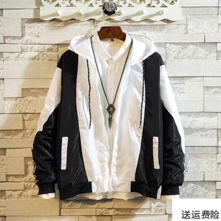 DuckleBeam - Color Block Hooded Zip Jacket