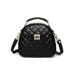 BeiBaoBao - Faux-Leather Quilted Bow-Accent Satchel