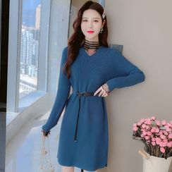 Aesthit - Long-Sleeve Plain Knit Dress
