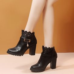YIVIS - Lace Trim Chunky Heel Ankle Boots