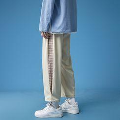 百高 - 格子拼接直筒運動褲