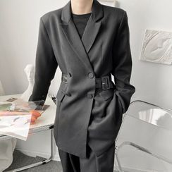 ANCHO(アンチョ) - Double-Breasted Belted Blazer