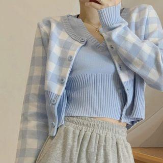 Avox(アヴォクス) - Plaid Cardigan / Sleeveless Knit Top / Wide-Leg Pants