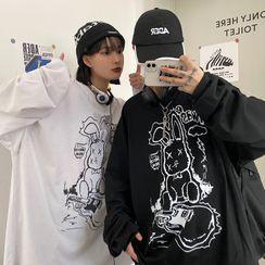 Porstina(ポルスティナ) - Couple Matching Long-Sleeve Print T-Shirt