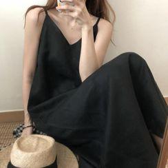 Hanji - Spaghetti-Strap Maxi A-Line Linen Dress