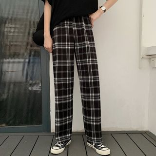Sisyphi(シシピ) - Plaid Straight-Fit Pants