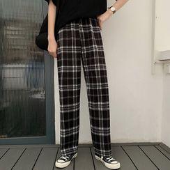 Sisyphi - Plaid Straight-Fit Pants