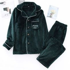 MelMount - Couple Matching Pajama Set: Long-Sleeve Embroidered Letter Fleece Buttoned Top + Pants