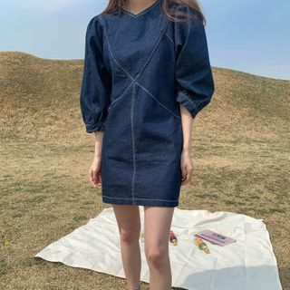 Oni Queen - Lantern-Sleeve Denim Shift Dress