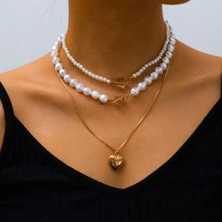 Seirios - Alloy Flower Faux Pearl Layered Necklace
