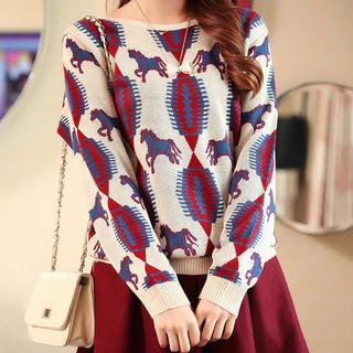 anzoveve - Horse Pattern Knit Top