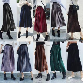 Juuri - Accordion Pleated Midi Velvet Skirt