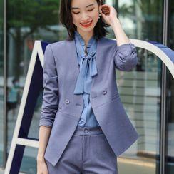 Princess Min - Plain Blazer / Dress Pants / Mini Skirt / Set