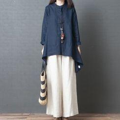 Glorieux - Plain Long-Sleeve Tunic Top