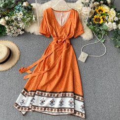 Lucuna - Short-Sleeve Printed Midi A-Line Dress