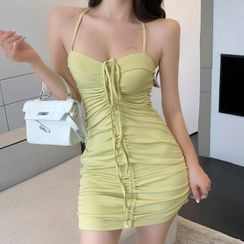 Dinse - Sleeveless Drawstring Mini Sheath Dress