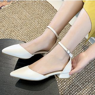 Freesia(フリージア) - Faux Leather Pointed Toe Ankle Strap D'Orsay Pumps