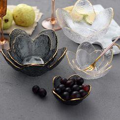 miss house - Golden Trim Glass Floral Bowl