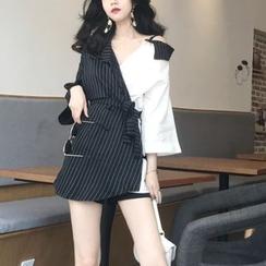 KONGER - 假两件七分袖条纹拼接迷你连衣裙