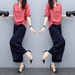 Lewwe - 套裝:短袖襯衫 + 寬腿褲