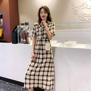 EFO - Plaid Short-Sleeve Midi Shirtdress