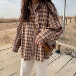 KAKAGA - Long Sleeve Plaid Shirt