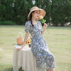 ALLYN - Floral Square Neck Short-Sleeve Midi A-Line Dress