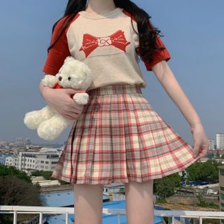 Sisyphi - Bow Short-Sleeve Knit Top / Plaid Pleated Skirt