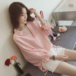 Kira Kira - V领条纹七分袖衬衫